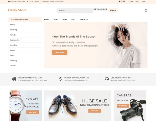 Daisy Store – Free Woocommerce WordPress theme