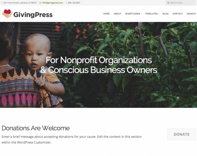 GivingPress Lite – Free Wp theme for non-profit organizations, charities, foundations