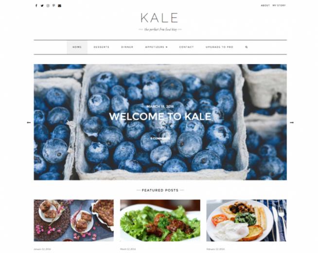 Kale – Free clean & SEO Optimized WordPress food blogging theme