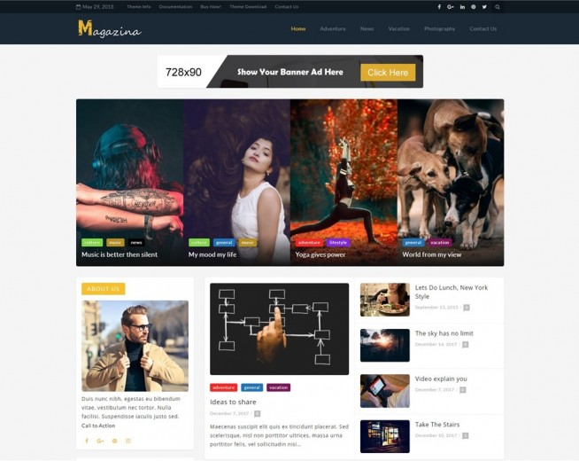 Magazina – Free Magazine WordPress theme