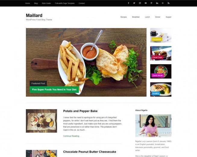 Maillard – free food blog WordPress theme with SEO Schema Markup