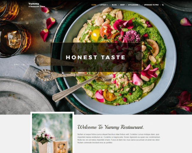 YUMMY – Free restaurant and food WordPress theme