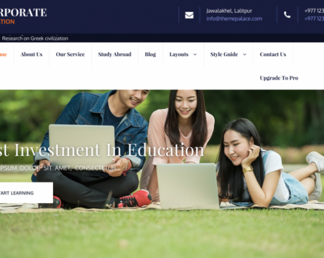 Corporate Education – Free educational WordPress theme for Universities, Schools