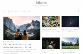 Jefferson – Free clean and minimalist WordPress blogging Theme