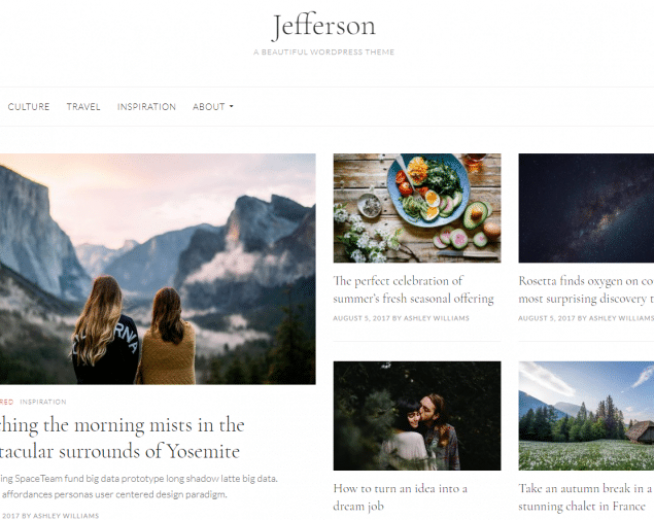 Jefferson – Free clean and minimalist WordPress blogging Theme