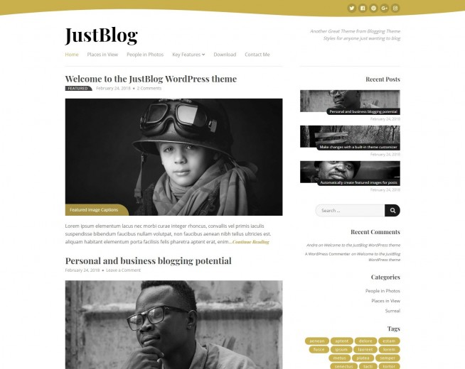 JustBlog – Free WordPress blogging theme