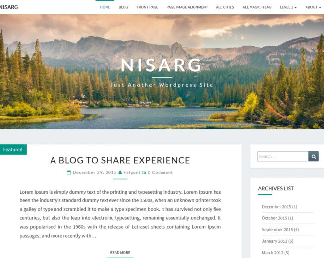 Nisarg – Free Simple WordPress blog theme