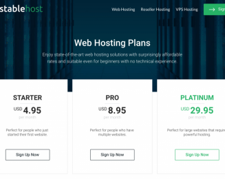 Stablehost 50% off lifetime coupon – cheap price for WordPress personal blog