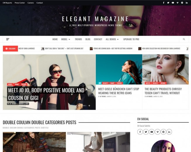 Elegant Magazine – Free magazine WordPress theme