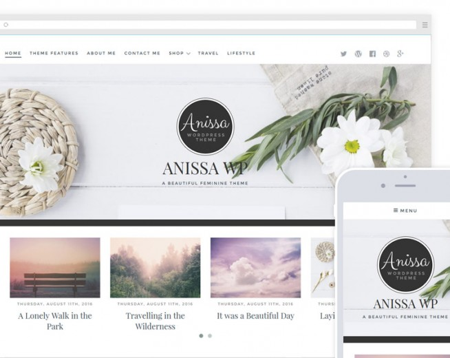 Anissa – a beautiful and Woocommerce-ready WordPress blogging theme
