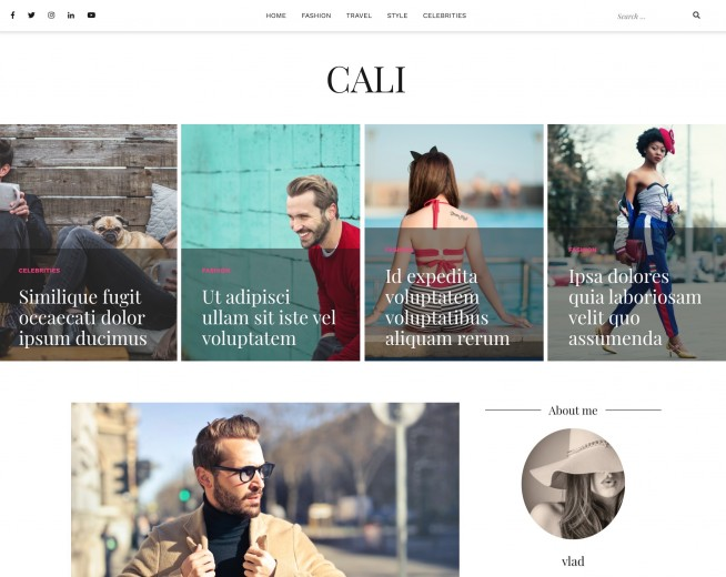 Cali – free WordPress blogging theme