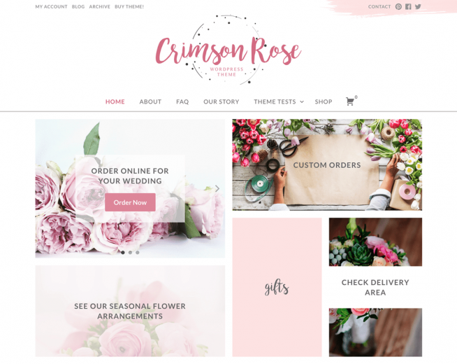 Crimson Rose – Free flower shop WordPress theme