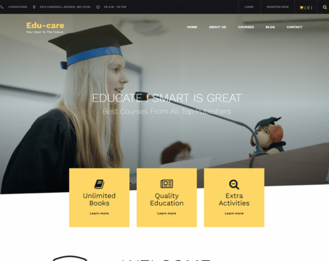 Edu Care – Free educational WordPress theme for schools, Universities