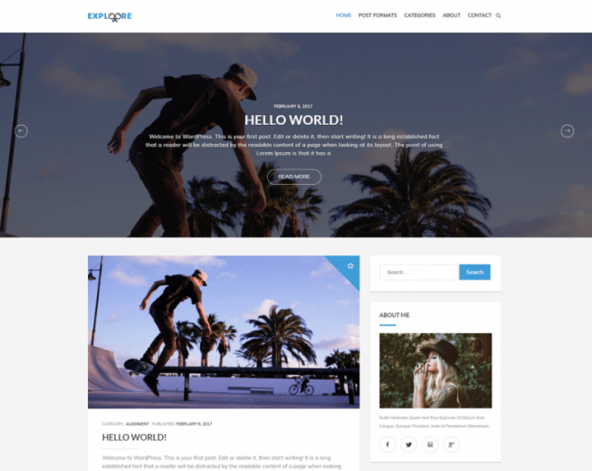 Exploore – free modern and versatile WordPress theme for blogging