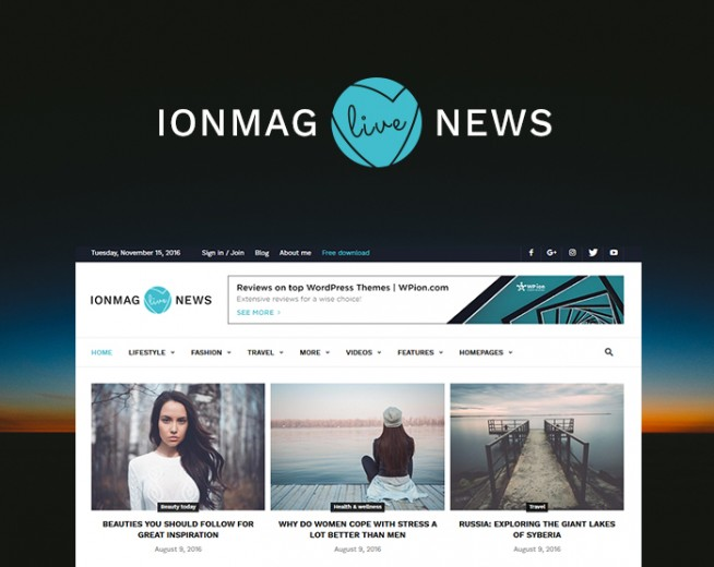 IonMAG – Best Free magazine WordPress theme in July 2017