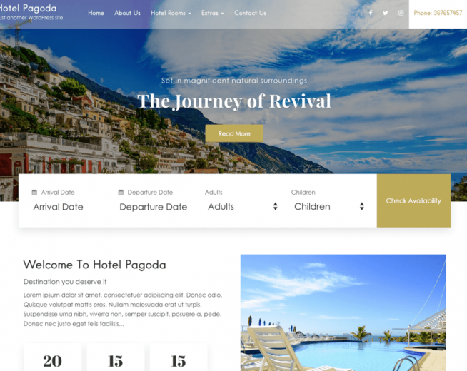 Hotel Pagoda Lite – Free hotel booking WordPress theme