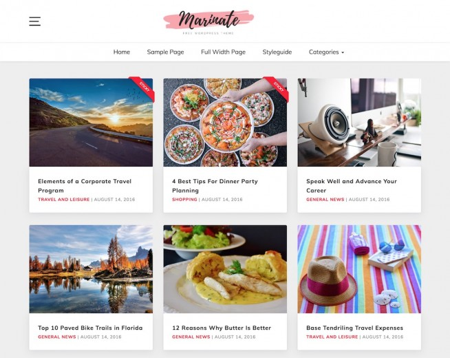 Marinate – Free Food blog WordPress theme