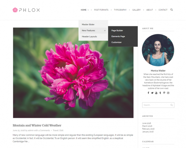 PHLOX – Free Elegant and Stylish WordPress theme