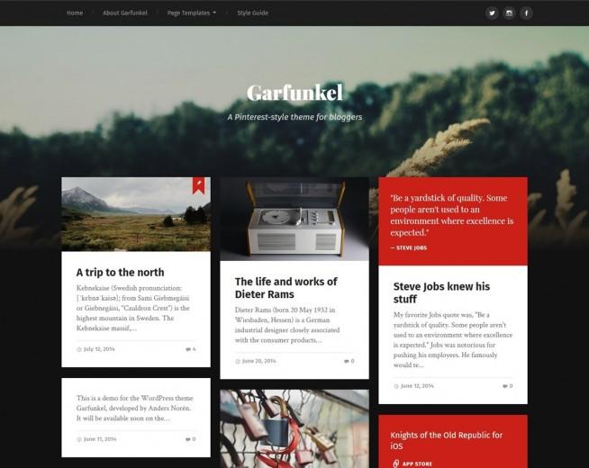 Garfunkel – Free Pinterest-style theme for bloggers