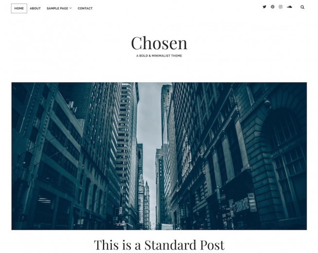 Chosen – Free minimalist, bold WordPress theme