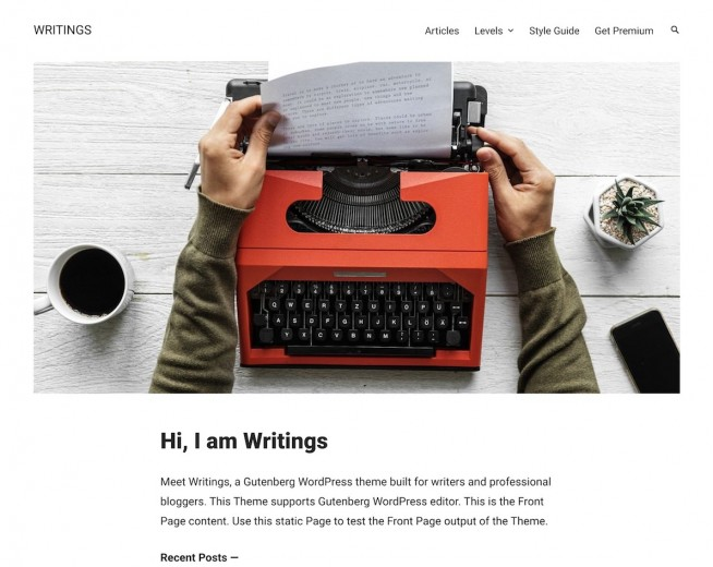 Writings – minimalist WordPress theme for writers, publishers