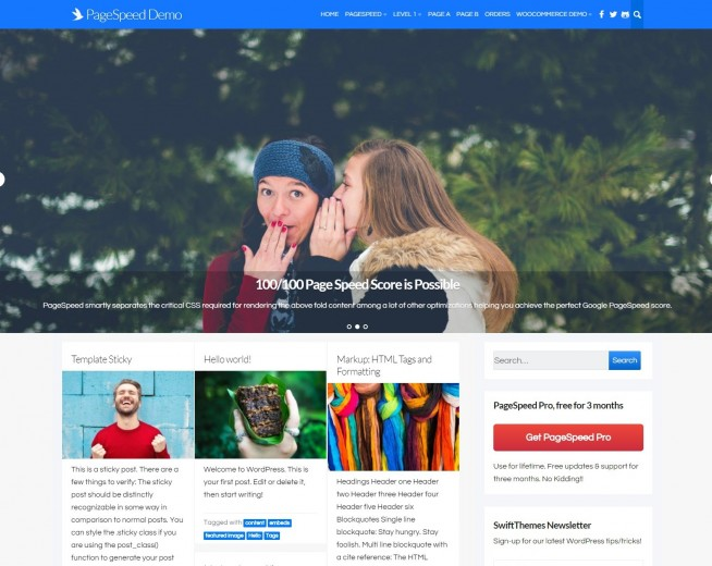 PageSpeed – Free Fast loading WordPress theme