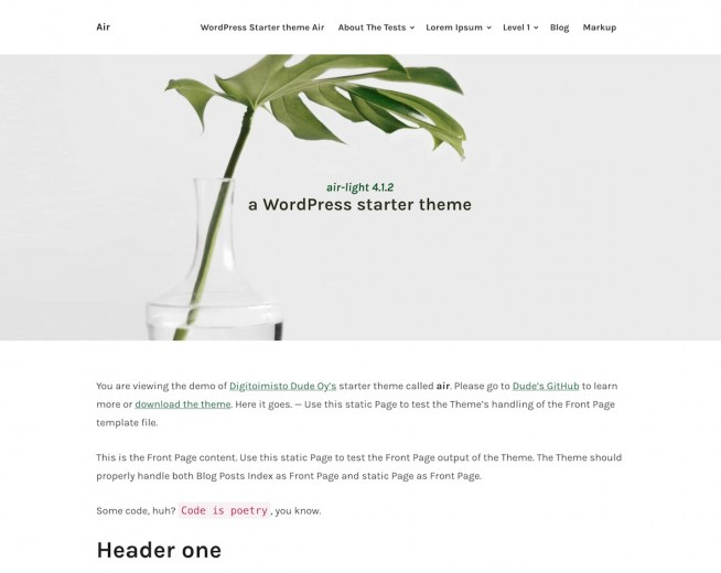 Air-light – Free minimalist WordPress blog theme