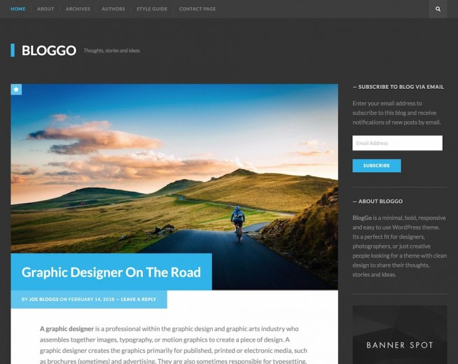 Bloggo – Free simple dark Wordpres theme