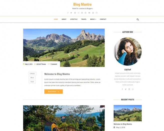 Blog Mantra – Free WordPress blogging theme