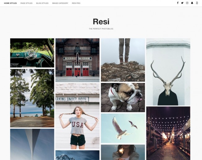 Resi – Free clean gallery WordPress theme