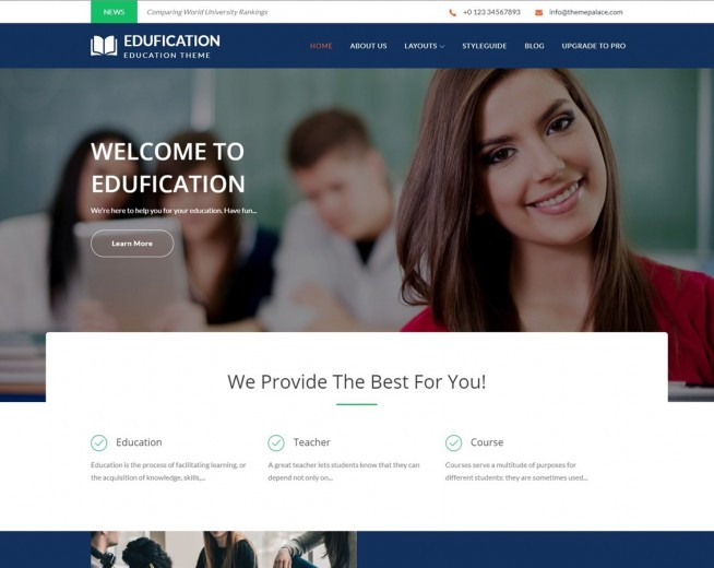 Edufication – Free educational WordPress theme