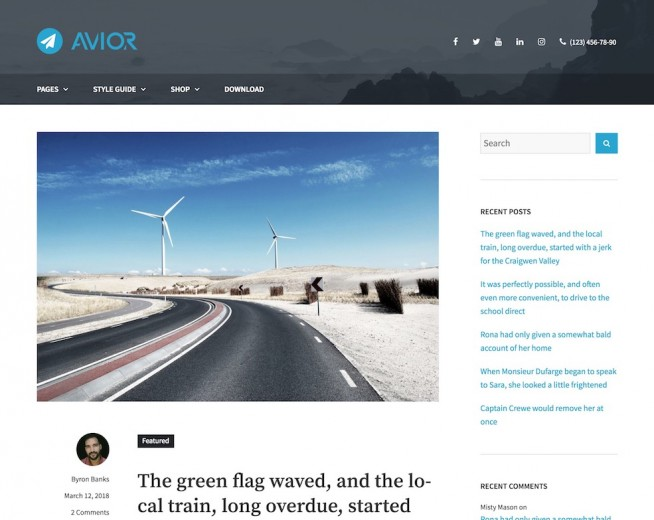 Avior – Free WordPress blog theme
