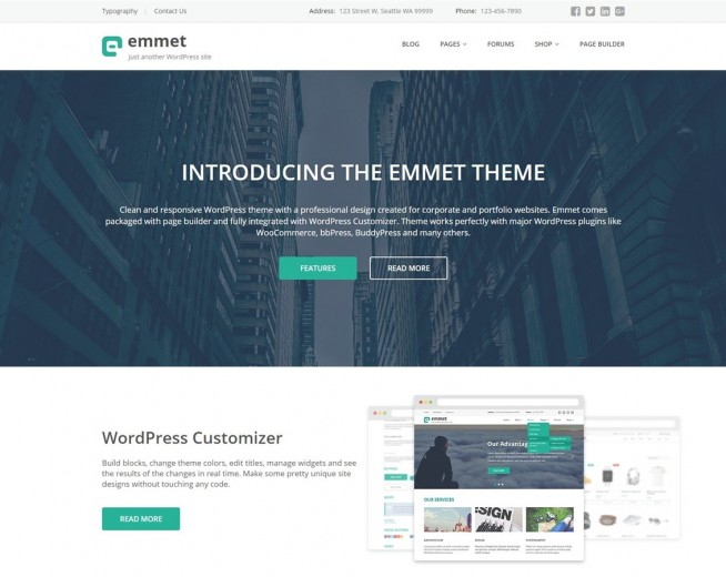 Emmet Lite – Free Multipurpose WordPress theme