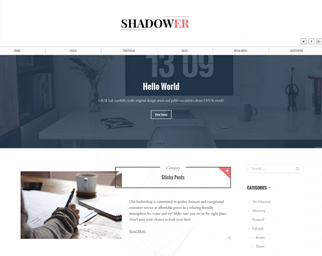 Shadower – Free business blog WordPress theme