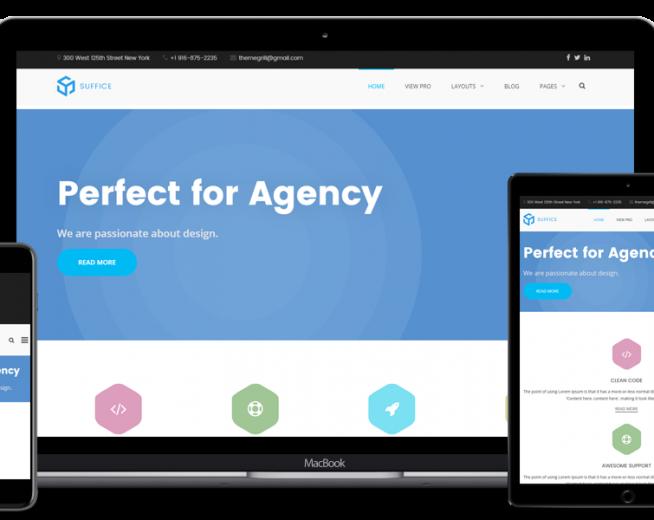 Suffice – Free Cooperate, Agency WordPress theme