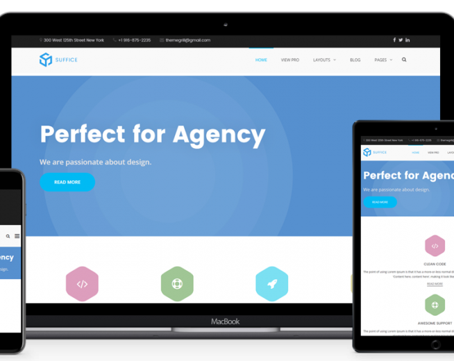 Suffice – Free Cooperate, Agency WordPress theme