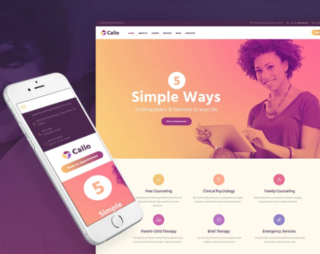 Calio – Free Therapy & Counselling WordPress Theme with Booking feature