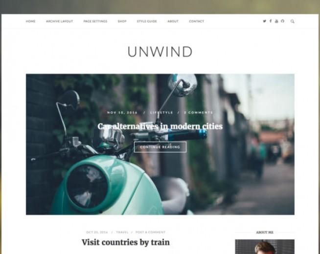 UnWind- Minimalist blog WordPress theme with Woocommerce Ready