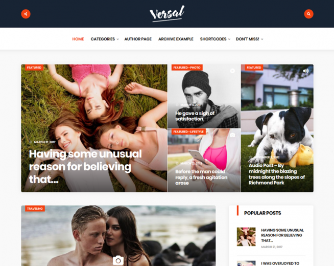 Versal – Free magazine, blog WordPress theme